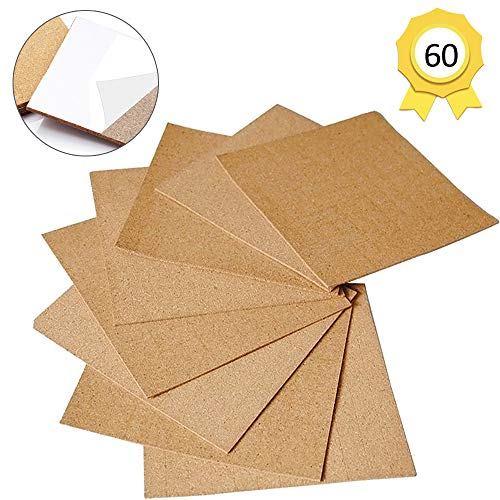 60 Pack Self-Adhesive Cork Squares 4