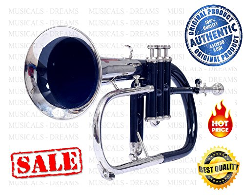 MST FLUGEL HORN 3 VALVE Bb PITCH FULL BLACK + NICKEL WITH FREE HARD CASE + MP by NASIR ALI