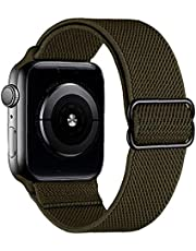 Nylonklockremmar, kompatibel med Iwatch, 42mm 44mm Justerbar stretchbyte Armband Mörkblå Flexibelt samarbete