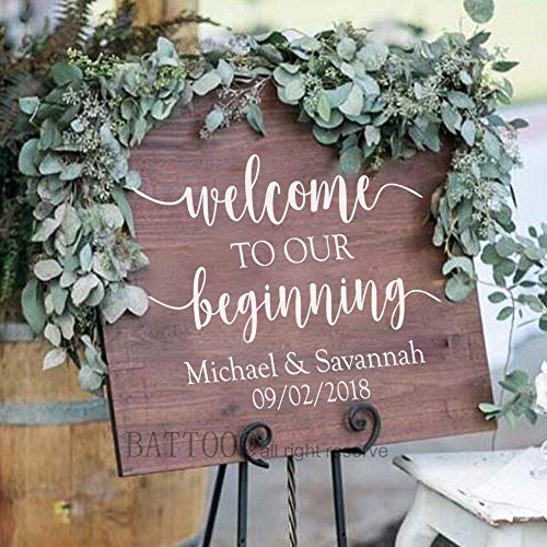 BATTOO Rustic Wedding Decal Welcome to Our Beginning Personalized for Wedding Sign Couple Names and Date Custom Decal Wedding Reception 20