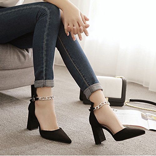 Con Transpirable altos Moda Vacía Toda elegante la correspondencia punta zapatos Ajunr En la tacones 35 Negro Cadena 39 gruesos Sandalias 7cm lateral EAcWYOYwqF