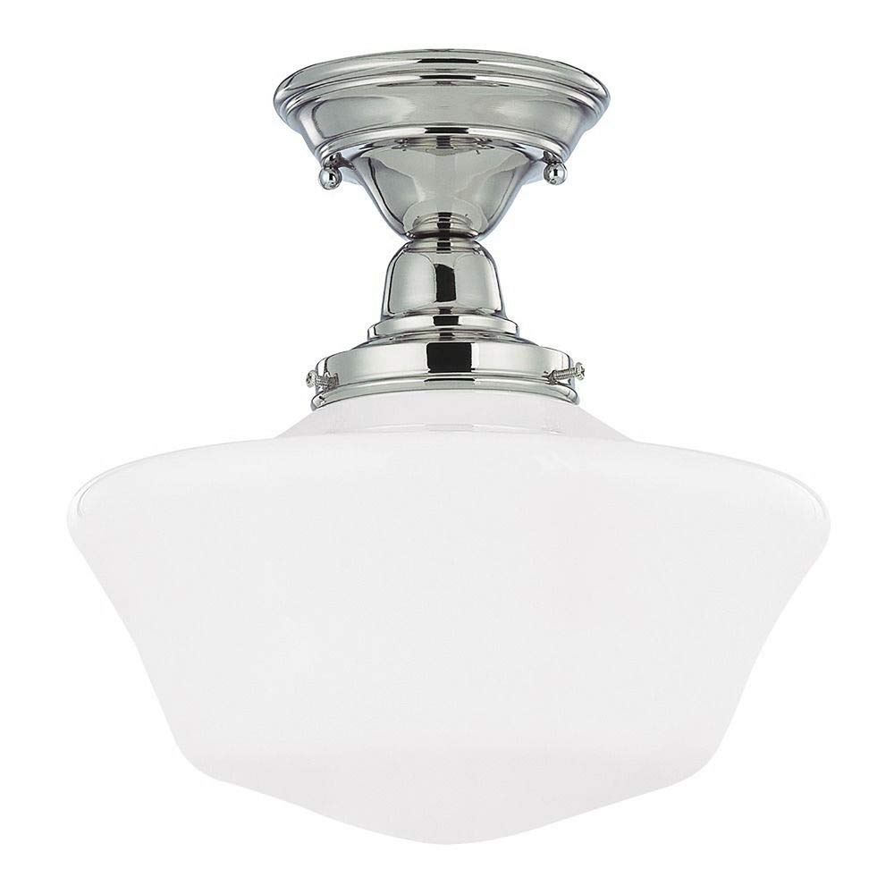 Polished Nickel 12 Inch Schoolhouse Semi Flush Mount Ceiling Light With Milk Glass Shade
