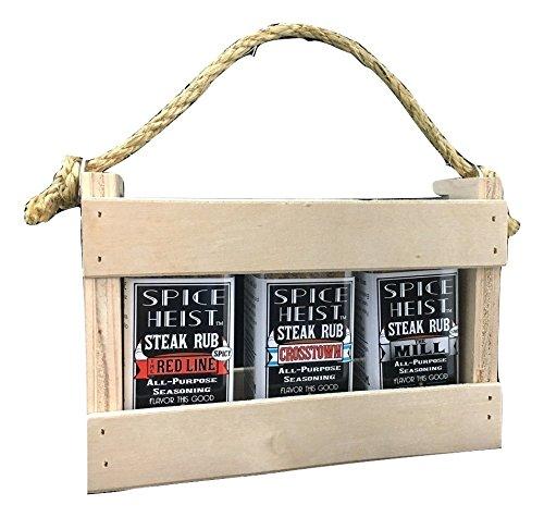Steak Rub Rack Gift Set by Spice Heist, 3 jars + wood rack