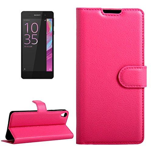 Beautiful & practical Para Sony Xperia E5 Litchi Textura horizontal Flip caja de cuero con hebilla magnética y titular y ranuras para tarjetas y cartera ( Color : Purple ) Magenta