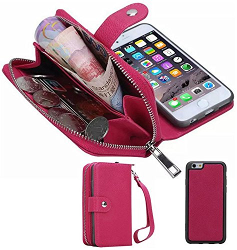 "Price comparison product image iPhone 6/6SWallet Case, HYSJY Girls Women Magnets Detachable Zipper Wallet Case iPhone 6/6S Cover PU Leather Folio Flip Holster Carrying Case Card Holder for iPhone 6 /6S 4.7"" (Rose)"
