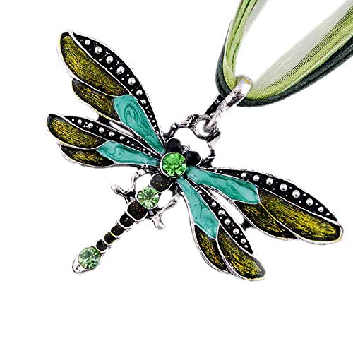 Noemigal Arce Women's Rhinestone Retro Creative Inlay Gem Tone Dragonfly Pendant Necklace(Green) ()