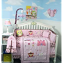 SoHo Pink Owl Castle Baby Crib Nursery Bedding Set for girls 14 pcs
