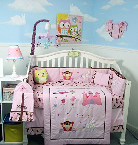 SoHo Pink Owl Castle Baby Crib Nursery Bedding Set 14 pcs