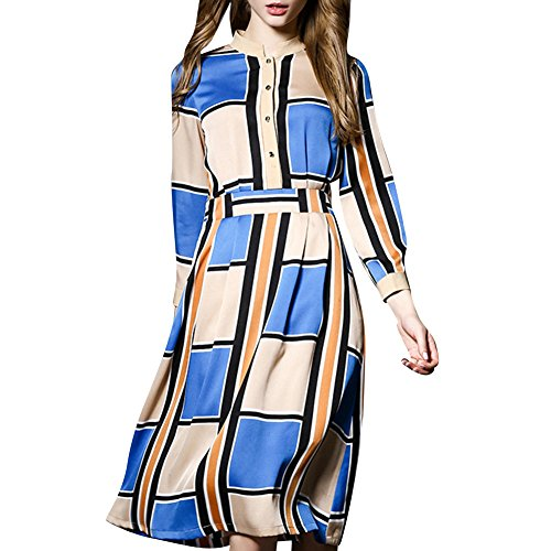 Scecent Women's Bohemian Beach Dress Plaid Long-Sleeved Midi Chiffon Dress