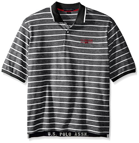 U.S. Polo Assn.. Men's Big-Tall Embellished Pencil Stripe Polo Shirt, Black, ()