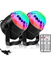 Disco Party Lights, Sound Activated Strobe Light Stage Light with Remote Control, RGB 7 Modes Disco Ball Light, Strobe Lamp for Home Room Dance Parties Bar Karaoke Xmas Wedding Show Club, 2 Pack