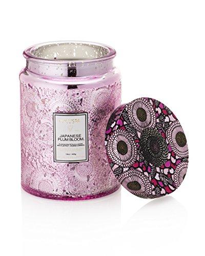 (Voluspa Japanese Plum Bloom Large Embossed Glass Jar Candle, 16 Ounces)