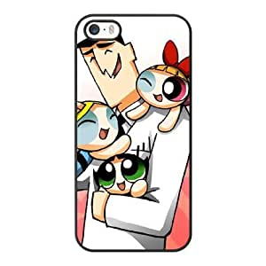 Grouden R Create and Design Phone Case, Powerpuff Girls and Professor Cell Phone Case for iPhone 5 5S SE Black + Tempered Glass Screen Protector (Free) LPC-8033108