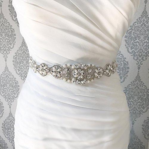QueenDream Iridescent Rhinestone Belt Pearl Bridal Belt Light Ivory Wedding sash Wedding Bride sash by QueenDream (Image #1)