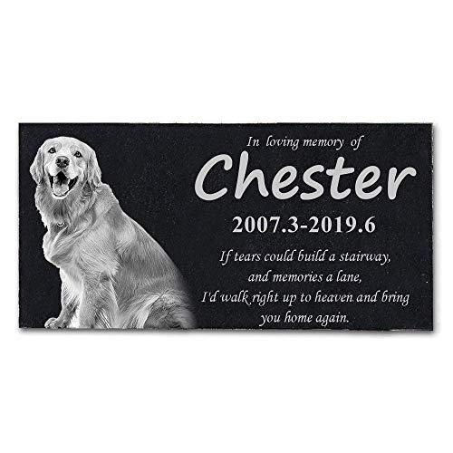 HMGYGS Pet Memorial Stone, Costom Pet's Photo, Name, Date, Missed Words, Pet Grave Marker, pet tombstones (12''x6'') (Markers Tombstones Pet)