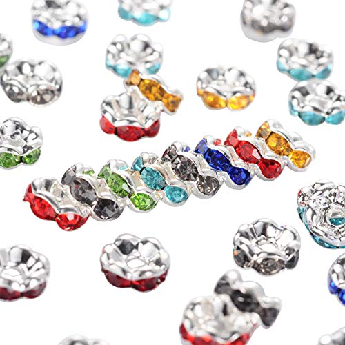 PH PandaHall About 200 Pcs 6mm Silver Plated Brass Rondelle Beads Wavy Edge Crystal Rhinestone Spacer Charm Bead Nickel Free for Jewelry Making
