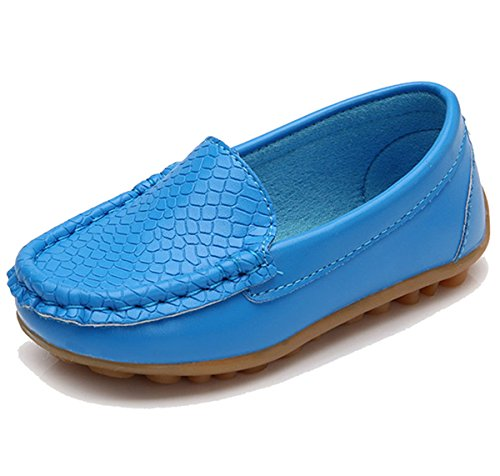 Price comparison product image Toddler Boys Girls Leather Loafers Slip On Boat Dress Shoes Flat (6.5 M US Toddler,  Sky Blue)