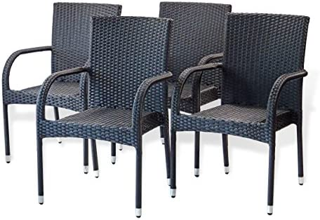 Patio Resin Outdoor Garden Deck Wicker Arm Chair. Black Color Set of 4