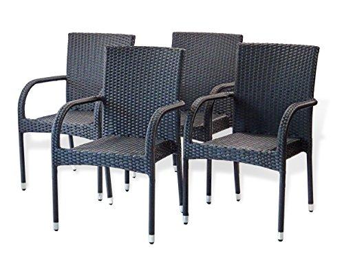 Patio Resin Outdoor Garden Deck Wicker Arm Chair. Black Color (Set of 4)