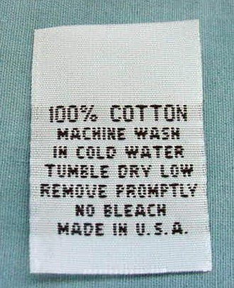 Care Label Cotton (LOT OF 100 pcs WOVEN CLOTHING LABELS, CARE LABEL - 100% COTTON)