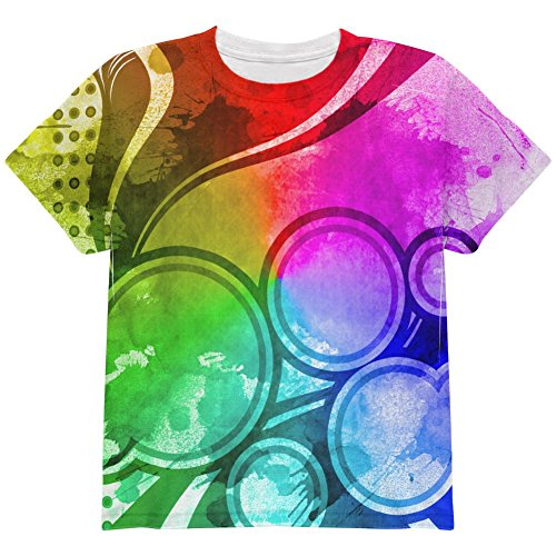 Price comparison product image Art Deco Grunge Splatter All Over Youth T Shirt Multi YLG