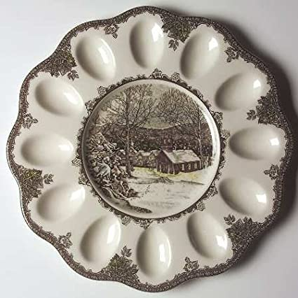 Johnson Brothers Friendly Village, The (England 1883) Deviled Egg Plate, Fine China Dinnerware