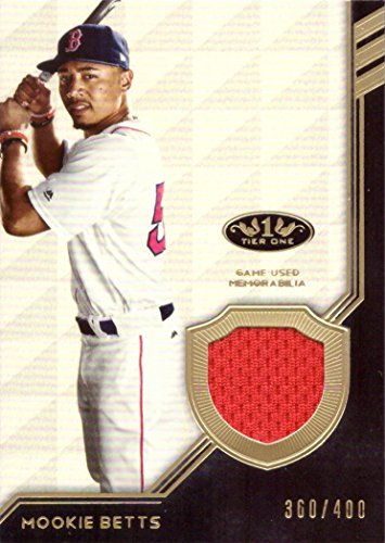 2018 Topps Tier One Relics #T1R-MB Mookie Betts Game Worn Red Sox Jersey Baseball Card - Only 400 made!