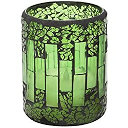 "GiveU Mosaic Glass Flameless Pillar Led Candle with Timer,3X4"",Green for Home Decor, Weddings, Parties and Awesome Gifts"
