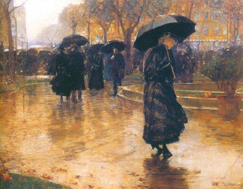 Rain Storm, Union Square-Hassam - CANVAS OR FINE PRINT WALL ART