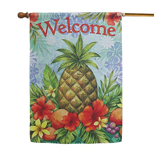 - LAYOER Home Garden Flag 28 x 40 Inch Decorative House Double Sided Banner (Pineapple & Flowers Welcome)