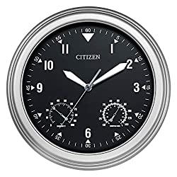 Citizen CC2017 Outdoor Wall Clock, Silver-Tone