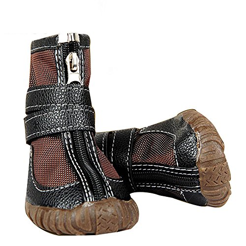 Brown Sugar 4 pcs Large Dog Shoes Winter Waterproof Non-Slip for Pitbull Golden Retriever (# 10) by Brown Sugar (Image #6)