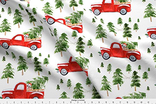 Spoonflower Christmas Fabric - Christmas Tree Truck Dog Baby Boy Baby Girl Red - by Shopcabin Printed on Basic Cotton Ultra Fabric by The Yard