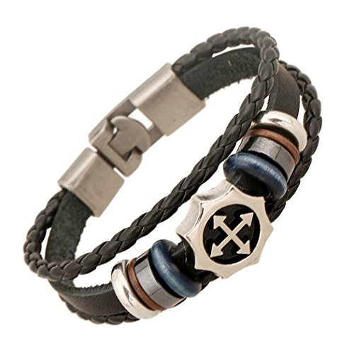 MORE FUN Punk Style Woven Rope Black Leather Triple Brand Bracelet With Metal Clasp