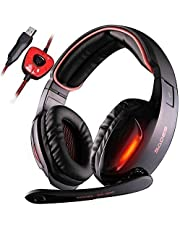 Gaming Headset, SADES SA902 7.1 USB Virtual surround Stereo Sound PC Headsets Wired LED Over Ear Gaming Headphones Mic Volume Control (Black&Red)