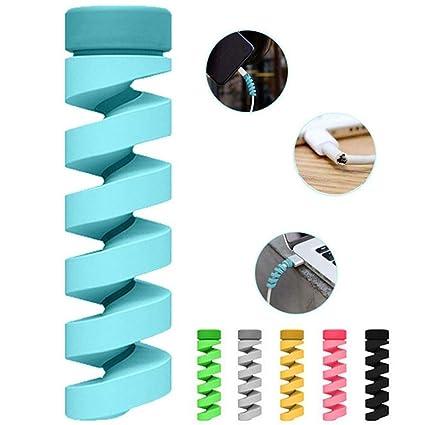 PoeHXtyy 20PCS Universal de silicona DIY Cable de datos Protector Espiral Cable Protector Cargador de cable de carga rápida