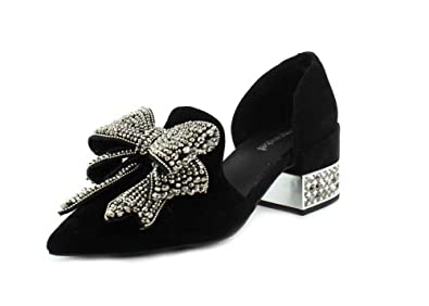 6fac4391575 Jeffrey Campbell Womens Valenti Embellished Bow Loafer Black Suede Silver  Smoke Slip-On - 7.5