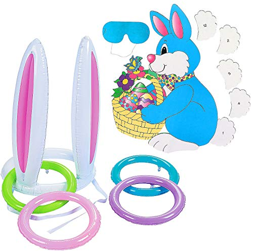 2 Easter Bunny Party Games - Bunny Ears Inflatable Ring Toss + PIN The Tail on The Easter Bunny - Spring PARTY GAMES - Great For Classroom, Day Care, Kids ()