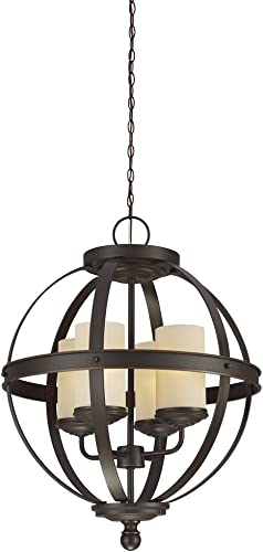 Sea Gull Lighting 3190404-715 Sfera Four-Light Chandelier with Cafe Tint Glass Shades, Autumn Bronze Finish