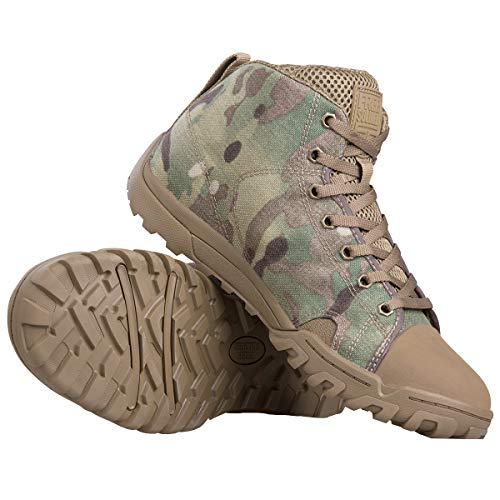 (FREE SOLDIER Men's Tactical Boots Ankle Boots Lightweight Breathable Military Boots Strong Grip Camo Combat Boots for Work (Camo (Mid Boots), US 6.5))