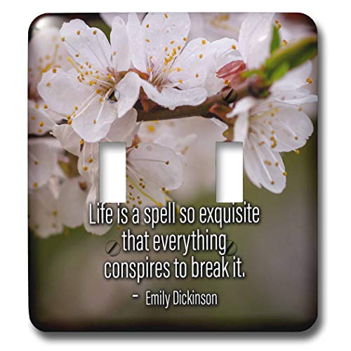3dRose Alexis Design - Quotes About Life - Sakura cherry flowers. Emily Dickinson quote Life is a spell so - Light Switch Covers - double toggle switch (lsp_302699_2)