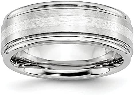 Cobalt Sterling Silver Inlay Satin and Polished 8mm Band