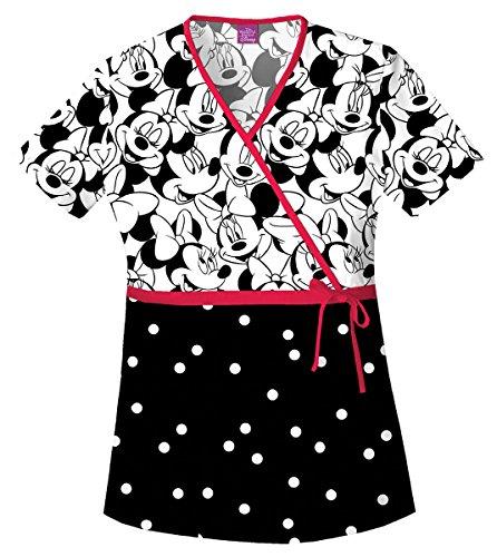 - Disney Cherokee Women's Mock Wrap Top Big Minnie, Black, X-Large