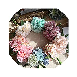 5 Heads Peony Silk Flower Bridal Bouquet Artificial Flower Hydrangea for DIY Home Wedding Party Decoration 16
