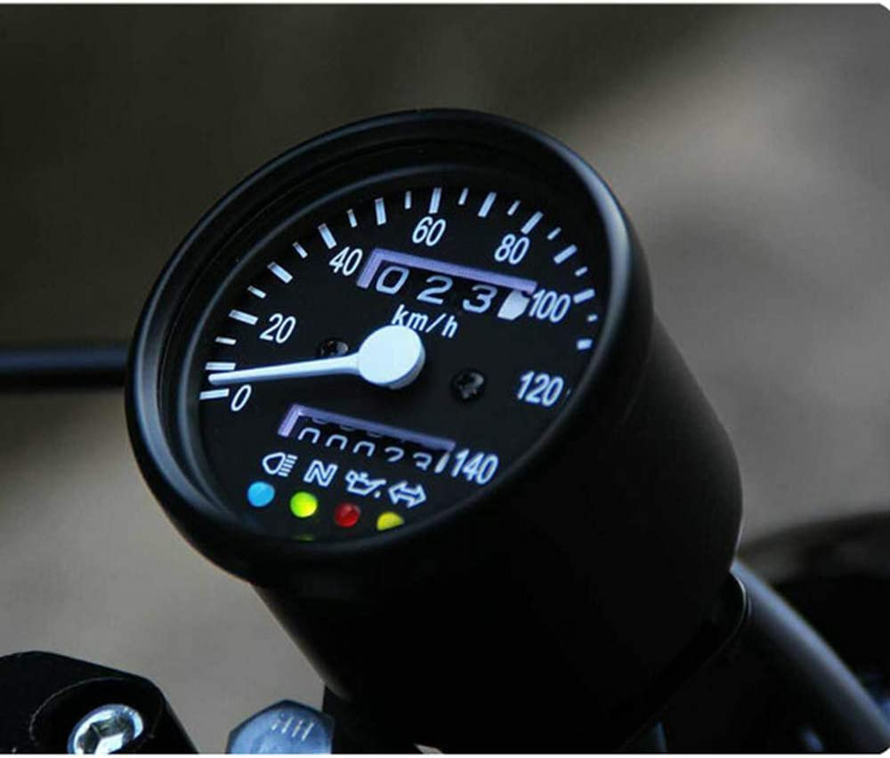 black Motorcycle Universal Mini LED Backlight Tachometer Speedometer Gauge For Honda Kawasaki Yamaha Suzuki Cafe Racer Old School Bobber