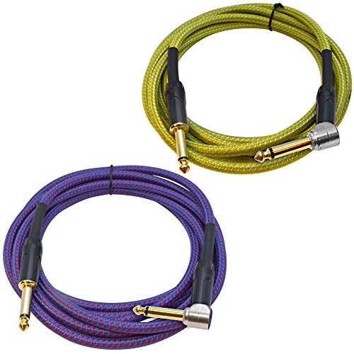 - Seismic Audio - SASGC-OL-RB10-2 Pack of 10 Foot Supreme Guitar or Instrument Cables, 1 Royal Blue and 1 Light Green Woven Tweed Jacket, 10' Pro Audio 1/4 Inch TS Straight to Right Angle Guitar Cords
