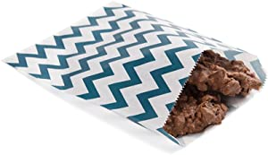 7 x 5 Inch Cookie Bags, 100 Biodegradable Paper Treat Bags - Use As Party Favors Or Candy Bags, Food Safe, Navy Blue With Zig Zags Paper Food Bags For Baked Goods, For Buffets Or Parties