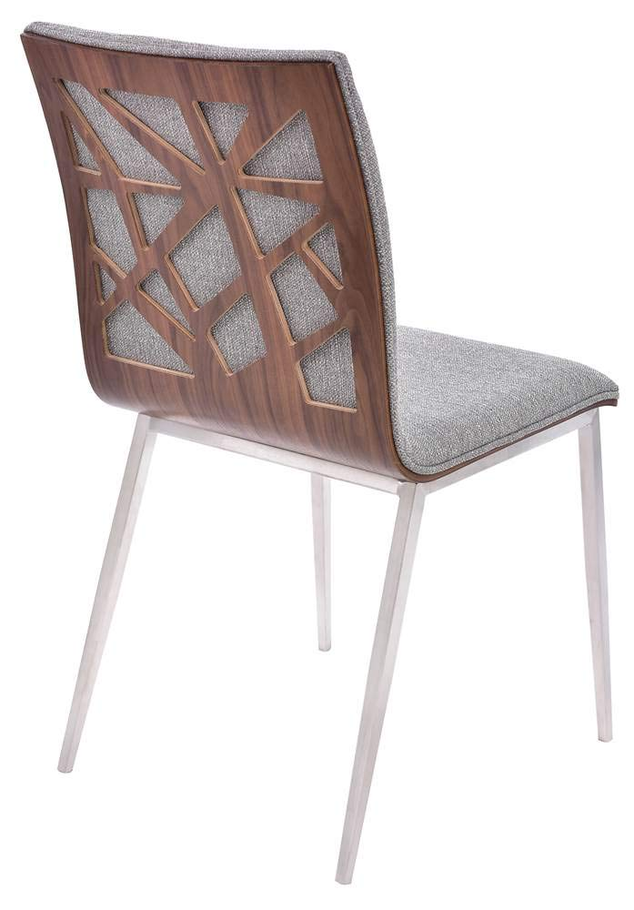 Walnut Wood and Brushed Stainless Steel Finish Armen Living LCCRCHGRF Crystal Dining Chair Set of 2 in Grey Fabric