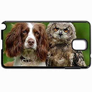 Customized Cellphone Case Back Cover For Samsung Galaxy Note 3, Protective Hardshell Case Personalized Dog And Owl Black