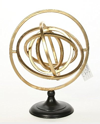 Hosley 12.5'' High Decorative Tabletop Gold Sphere Pedestal, Tabletop Retro Vintage Airplane. Ideal Gift or Use for Teacher, College Student, Dorm, Study, Den, Home Office. O9